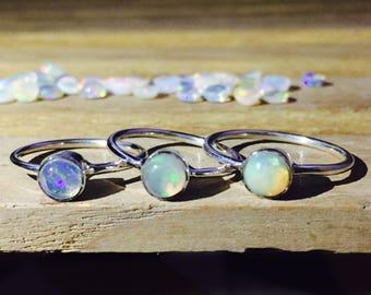 Nice Fire Ethiopian Opal Ring - Stacking Ring - Fire Opal Ring - Ethiopian Opal Ring - October Birthstone Ring