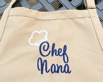 Monogram Apron with Name and Chef Hat design - Personalized Name Aprons - Personalized Apron -  - Personalized Kitchen Gifts