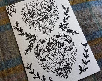 67204229ddc30 Floral Love A4 Tattoo prints on Heavy Textured Cardstock 300gsm