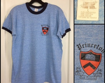 1970s Princeton University tri-blend ringer t-shirt size large 20.5x24 heather blue Ivy League school college rayon Russell made in USA