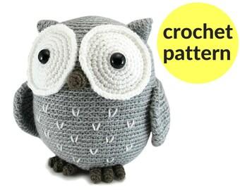 Large owl amigurumi pattern - crochet owl pattern, large stuffed animal owl, cute owl pattern, cute crochet pattern, easy amigurumi pattern