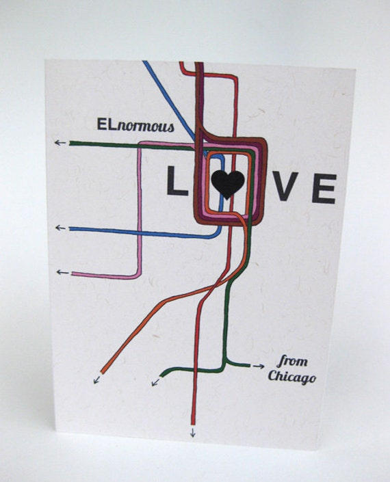 Chicago Blank Greeting Card - Chicago CTA El Train Love - Handmade and printed from original ink and gouache illustration
