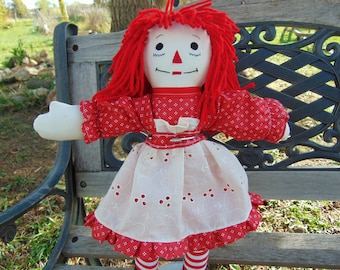 15 inch Raggedy Ann Cloth Doll in Red Polka Dot Dress