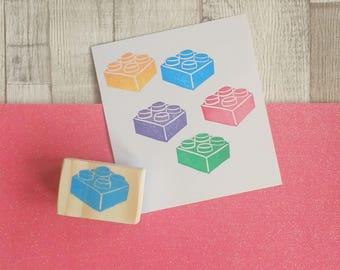 Building Block Stamp - Block Stamp - Mini Block Stamp - Building Brick stamp - Birthday Favour Stamp - Birthday stamp - Gift for children.