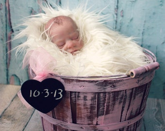 Baby girl-newborn-photo-prop-photography-bucket-basket-bed-apple-chalkboard-distressed-its a girl-birth announcements-large-barrel-half