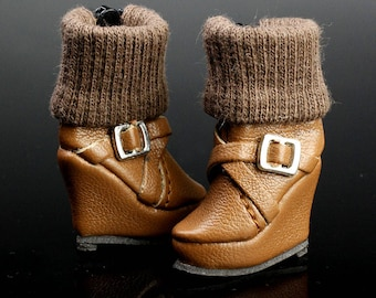 B538 The Vogue Brown Wedge Platform Ankle Fashion Boots Shoes for Barbie Fashion Royalty FR2 Poppy Parker Silkstone
