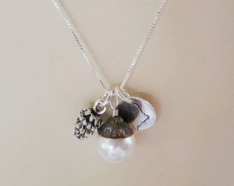 Maine State House Copper Dome Necklace - Swarovski Pearl - Sterling Stamped Maine Disk - Pinecone - Limited Edition