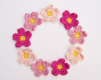 Crochet Flower Appliqués - 9 Pinks