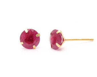 Ruby Studs_14k Solid gold_July Birthstone Earring