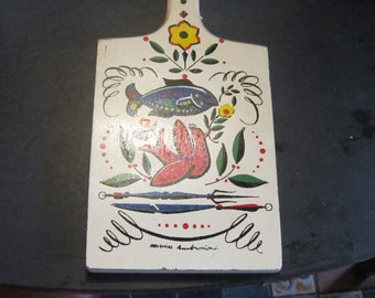 cutting board yugoslavia painted one side signed