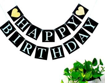 Happy Birthday Banner, happy birthday sign, aqua gold black birthday party decoration, photo prop, boy birthday banner
