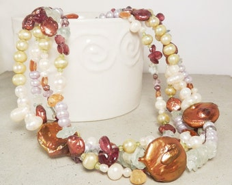Chunky Statement Necklace - Multi Strand Freshwater Pearl & Gemstone Jewelry - Sterling Silver Toggle - Mothers Day Gift