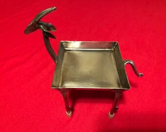 """Metal Gazelle Antelope Sculpture Dish 6"""" x 5"""""""