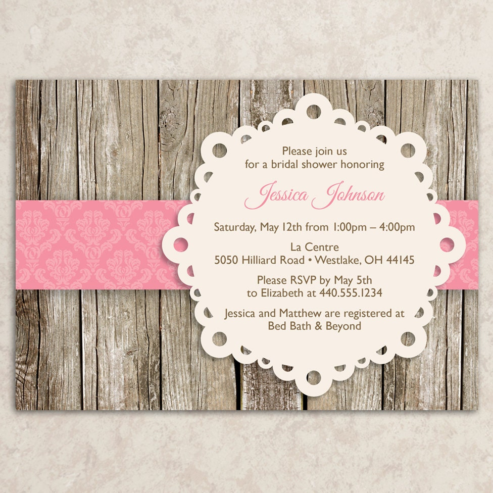 Rustic Invitation Printable JPEG file Rustic Invite