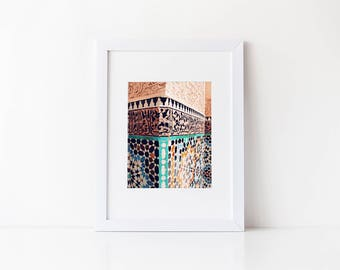 Moroccan Photography: Moroccan Column Print, Moroccan Decor, Morocco Photos, Marrakesh, Marrakech, Moroccan Art, Moroccan Architecture