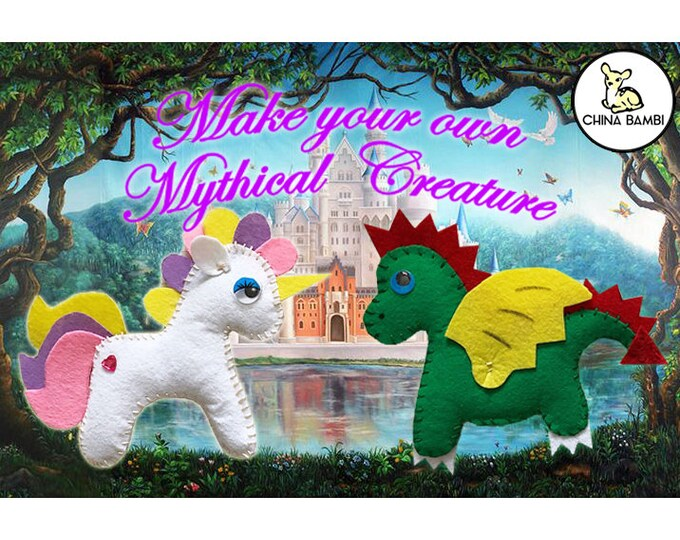 Featured listing image: Mythical Creatures Craft - Felt Unicorn or Dragon. Made to order or Craft yourself kit