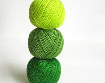 Cotton crochet thread, 3 balls, green mix, 25 g per ball