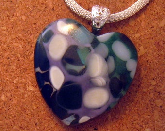 Fused Glass Pendant - Heart Pendant - Fused Glass Heart - Fused Glass Jewelry - Glass Pendant
