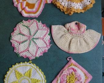 6 Vintage Hand Crochet Pot Holders Various Size & Color Kitchen