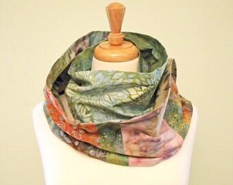 Batik Fabric Scarf, Multiple Prints, Long Scarf, Endless Scarf, Multicolor, Leaves, Flowers