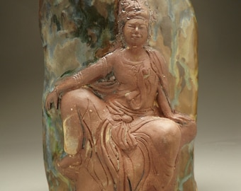 Kuan Yin vase, bodhisattva of compassion relief sculpture art pottery ikebana vessel, seated buddha