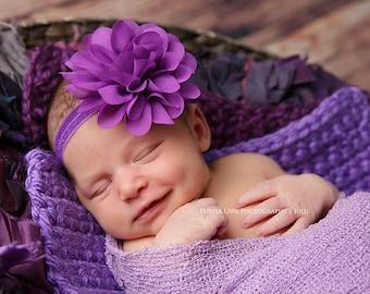 Purple baby headband, ultra violet headband, ultra violet flower, infant headband, newborn headband,  photo prop, pantone color of the year