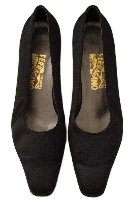261adce64a83 Vintage Ferragamo Boxy Heels with Rhinestone Heel Details