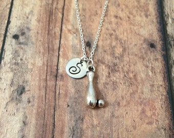 Bowling pin initial necklace - bowling necklace, gift for bowler, bowling jewelry, bowling pin jewelry, silver bowling necklace