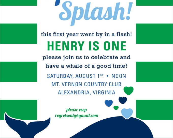 Whale of a Party | Birthday Party Invitation
