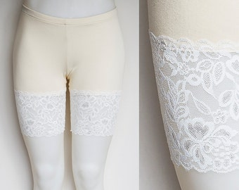 Lace Bike Shorts with Wide Lace Trim