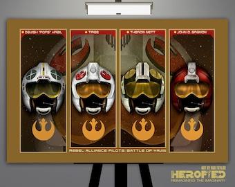 "Star Wars Inspired ""Rebel Alliance Pilots: Battle of Yavin"" 17X11 Art Print"