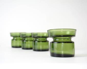 Set of 4 Dansk of Denmark Green Votive Candle Holders - Danish Modern - 1970s - True Vintage