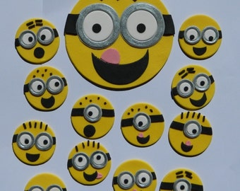 1 large & 12 small edible DESPICABLE MINION kit Cake cupcake wedding topper decoration party wedding birthday engagement anniversary cartoon
