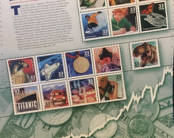 Celebrate the Century 1990s Unused Collectable US Postage Stamp sheet