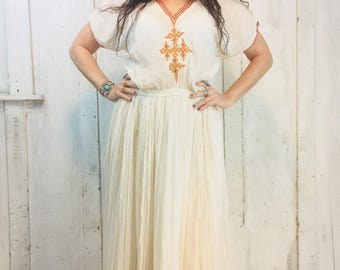 Vintage Indian Maxi Dress//Indian Cotton Dress// Bohemian Indian Dress// 1970s Boho Gypsy Dress// Ethnic Hippie Tribal Dress