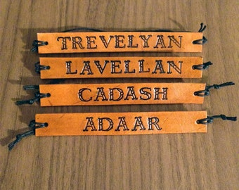 Dragon Age Inquisitor Name ID Stamped Leather Bracelet