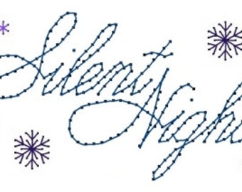 Silent Night Snowflakes Christmas  Embroidery Pattern for Greeting Cards