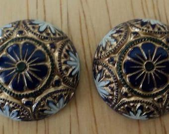 18mm round Preciosa glass dome mosaic cabochon blue gold A 2 pc lot l