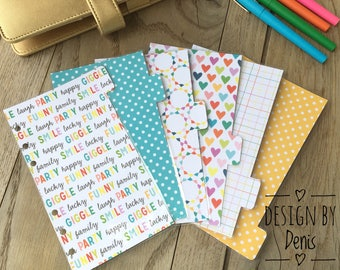 Set of 6 divider set A5 / dividers / Dashboard Set / Planner Accessories / Planner Inserts / Personal planner / A5 divider / filofax