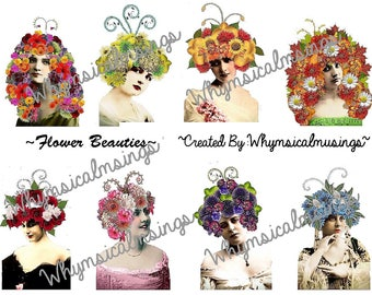 Digital Collage Sheet~ Flower Beauties~ ATC~ Instant Download~ Collage Sheet