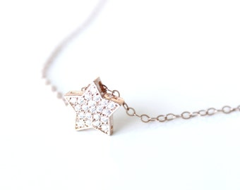 Rose Gold Star necklace Glitter Star necklace Christmas Star necklace Rose gold cubic necklace CZ Star Rose Gold Filled five pointed star