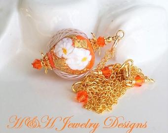 Orange Murano Glass Necklace, Gold Murano Glass Pendant Necklace, Orange Murano Jewelry, White Flower Venetian Glass Necklace, Gift Idea Her