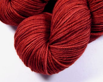 Hand Dyed Yarn, Sport Weight Superwash Merino Wool Yarn - Cinnabar - Indie Dyed Knitting Yarn, Sock Yarn, Sport Yarn, Tonal Red Orange