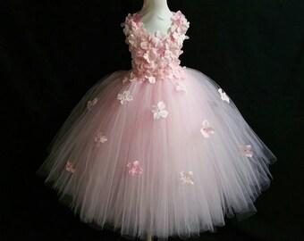 Light pink hydrangea flower tutu dress/ Flower girl dress/Party dress(Aqua,white,ivory,burgundy,blue,lavender,yellow many colors available)