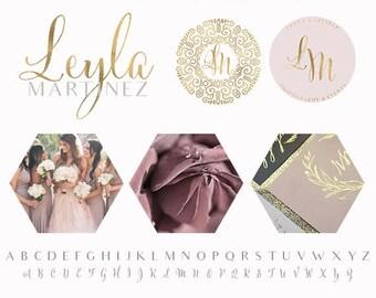 Branding Package - Branding Kit - Elephant Logo - Mauve and Gold Logo - Photography logo - Blog Branding - Blog Logo - Gold Foil Logo