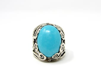 Turquoise Ring Sterling Silver, Size 6, Made in Israel, 925 Silver, Estate Jewelry, Modernist Ring