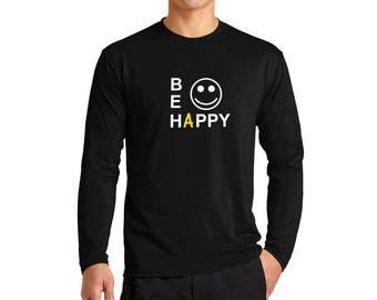 Be Happy T-shirt Men Long Sleeve