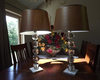 Pair Mid Century Clear Glass Stacked Orb Lamps