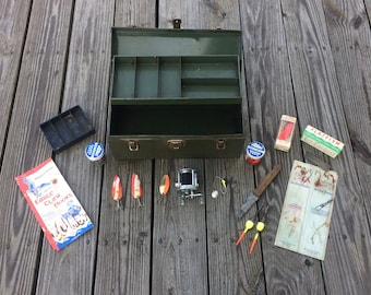 Fishing Tackle Box - Bronson Fishing Reel - Fishing Lures - Vintage Fishing - Thunderhawk Fishing Reel - Metal Tackle Box - Metal Tool Box