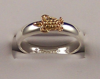 14k Gold and Sterling Silver Stacking Sea Turtle Ring